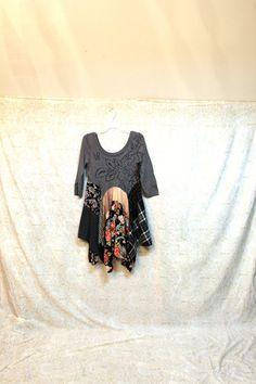 Revival Women's Upcycled Boho Shirt, Shabby Chic Junk Gypsy Style Romantic Bohemian