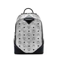 MCM Small Duke Visetos Backpack In Silver