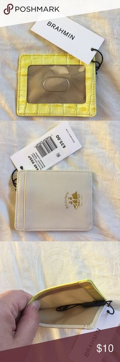 Brahmin ID holder New With Tags.  Brahmin ID holder.  Cream on one side and green/yellow on the other.  Smoke free home. Brahmin Bags Wallets