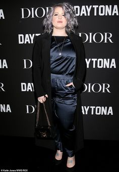 bc9be482623d Kelly Osbourne looks chic in a navy satin jumpsuit