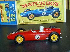 Matchbox Lesney B.R.M. F1 Racing Car 52 B5 Labels Rare Red VNM & Crafted Box - http://www.matchbox-lesney.com/52120