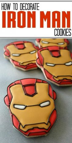 Planning an Iron Man themed party and stuck for ideas? Here's a roundup of 13 Iron Man party ideas that you can Man Cookies, Cookies For Kids, Cute Cookies, Sugar Cookies, Iron Man Kuchen, Galletas Decoradas Baby Shower, Iron Man Birthday, 4th Birthday, Cake Birthday