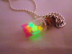 Glow in the Dark Bottle Polymer Clay Pendant by DoodieBear on Etsy, $10.00