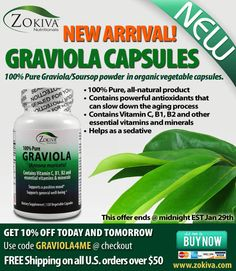 New to Zokiva!  Graviola Leaf Powder Capsules.  Now you can enjoy the full benefits of Graviola while on the go, by using our easy to swallow vegetable capsules. Take advantage of this 10% discounted special Today!  THIS OFFER IS ACTIVE RIGHT NOW FOR ALL ZOKIVA SUBSCRIBERS!  We also carry Graviola Powder and Tea Bags.  This offer ends Jan 29th @ Midnight EST. http://www.zokiva.com/products/graviola-leaf-capsules-soursop  We thank you for your continued support and look forward to serving…