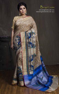 Dupion Tussar Kalamkari Saree in Beige and Blue Kalamkari Saree, Elegant Saree, Blue Blouse, Bengal, Beautiful Hands, Sarees, Range, Hand Painted, India