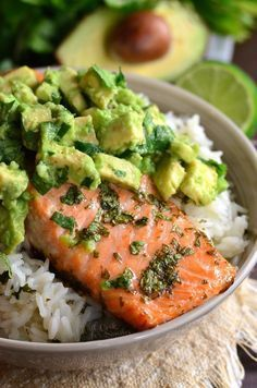 Beautiful honey, lime, and cilantro flavors come together is this tasty salmon avocado rice bowl.