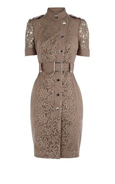 Cheap Replica Designer Clothes Women Karen Millen Lace Dress khaki