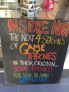 Ha! Via Bookriot: http://bookriot.com/2013/10/23/creative-book-marketing-awesome-bookstore-signage/