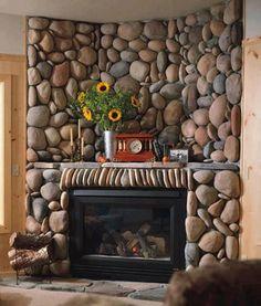 corner & concave stone fireplace