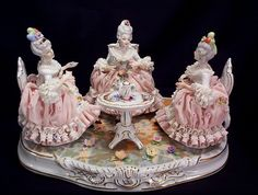 Vintage Dresden Tea Party Porcelain Grouping - circa 1940's
