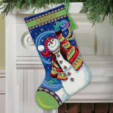 NEW Dimensions D71-09143 | Happy Snowman Christmas Stocking Tapestry Kit | 41cm