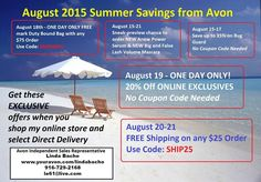 Check out all the August Savings. Pin this to keep for reference, then shop my eStore at: www.youravon.com/lindabacho #avonrep