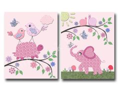 Baby girl nursery wall art Baby girl room decor by DesignByMaya