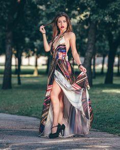 Abito Donna Vestito Lungo Fantasia Senza Manica Scollato Spacco Elegante e16fc720489