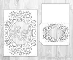 Wedding Invitation Card Template Laser Cut Svg Cutting File For