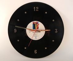 Take an old record and make it into a wall clock