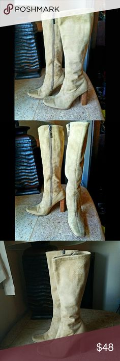 Tan suede side zip boot Tan suede side zip boot in new condition. Literally worn once. Has a side zipper inside the leg from bottom to top and wooden heal that measures 4 inches at highest point!  Can also go less on Merc if interested just ask me!  Also Victoria's Secret freebies with any purchase and every purchase from my closet!! Venus of Cortland Shoes Heeled Boots