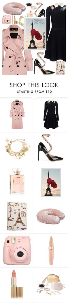 """""""#PolyPresents: Dream Vacation"""" by teto000 ❤ liked on Polyvore featuring Burberry, RED Valentino, Valentino, Chanel, Pottery Barn, Forever 21, Fujifilm, Maybelline, L'Oréal Paris and Charlotte Russe"""