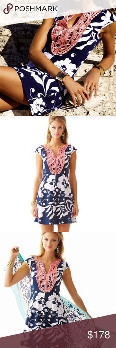 Lilly Pulitzer Briella Dress Gorgeous! Bright navy Johnny B style. NWT! Perfect! I'm a 6 and can wear this, but it's just a tiny bit snug (but sexy!). A 4 would be perfect! I kind of (okay really) want to keep it! Lilly Pulitzer Dresses Mini