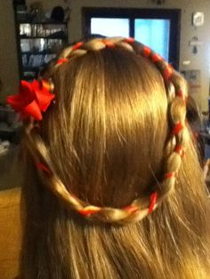 Christmas Wreath Hair - using a red ribbon as one strand of french braid, wrap around to form wreath - secure with bobby pins and add bow - simple, pretty and festive!