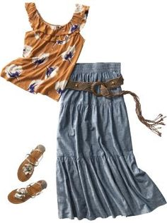 I like this combination and a skirt long enough to get in the floor with the kids, if I had to.