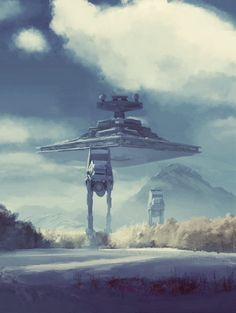 starwarscountdown:  run2damoon:  AT-Atack by  Robert Dybuk    ONE HUNDRED THREE DAYS UNTIL THE FORCE AWAKENS   From one science fiction lover to another….