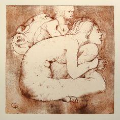 Regard vres un ailleurs by Philippe Chesneau - Héliogravure Not toxic engraving - tirage print vieille Hollande H L 14 x 14 cm