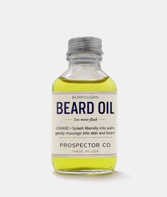 Prospector Co. Beard Oil Mini Flask by Burroughs: Contains Argan, Grapeseed, Cedarwood, Sandalwood and other pure essential oils. Moustaches, Cobbler Aprons, Best Beard Oil, Thing 1, Best Gifts For Men, Beard Care, Men's Grooming, Facial Hair, Essential Oils