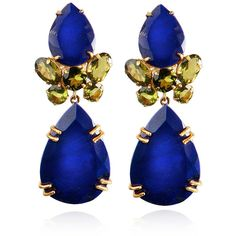Bounkit Faceted Lapis & Peridot Earrings ($340) ❤ liked on Polyvore