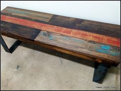 Reclaimed Salvaged Wood Bench Coffee Table by HappyHomeAustin