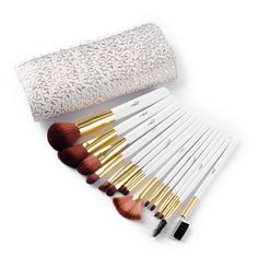 MSQ 15pcs Top Quality Cosmetic Makeup Brushes Set with White Embossed Pouch for Fashion Beauty -- You can find more details by visiting the image link.