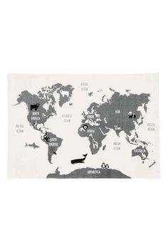 Maailmankartta-puuvillamatto - Valkoinen/Eläimet - Home All | H&M FI 1
