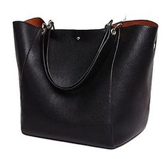 SQLP-Women-Ladies-Leather-Tote-Bag-Handbag-Shoulder-Bag-Black