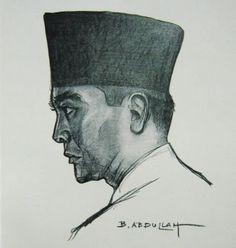 Abdullah - Soekarno.  The first president of Indonesia Soekarno by Basoeki  Abdullah