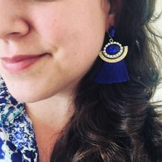T&J Designs royal blue tassel earrings Pump up your outfit with these adorable earrings! Gold and royal blue. NWT retail. T&J Designs Jewelry Earrings