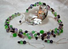 Green and Purple Beaded Necklace Set handmade by HettyMarie
