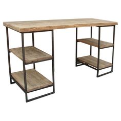 Found it at Wayfair - Harper Writing Desk in Natural. I think I could make this.  Two tall side tables....