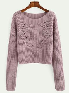 Shop Pale Purple Hollow Out Long Sleeve Sweater online. SheIn offers Pale Purple Hollow Out Long Sleeve Sweater & more to fit your fashionable needs. Handgestrickte Pullover, Pullover Sweaters, How To Purl Knit, Purple Fashion, Fashion Black, Fashion Fashion, Fashion Women, Fashion Ideas, Vintage Fashion