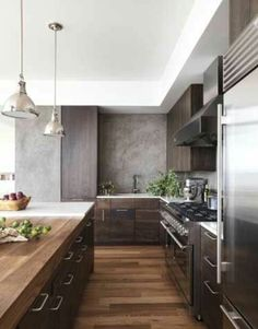 Modern Wood Kitchen - Walnut Kitchen Cabinets - This is nice and I like the dainty pulls. I think if we do walnut kitchen we should do soft pulls/knobs Home Kitchens, Kitchen Remodel, Kitchen Design, Kitchen Inspirations, Modern Wood Kitchen, Kitchen Interior, House Interior, Walnut Kitchen Cabinets, Luxury Kitchen
