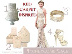 Wedding decorations ideas from the Red Carpet of the Oscars series.  This white snowflake, honeycomb lace dress caught my eye and I immediately thought of this Amazing luxury wedding invitation suite created by Ceci New York!! #weddingdesign #weddingstyling #weddingideas #southasian #indian #persian #iranian #afghan #lace #honeycomb #fullcircleeventi