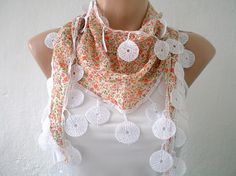 Floral Printed Scarf Pastel Salmon Peach Cotton by fizzaccessory