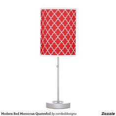 Modern Red Moroccan Quatrefoil Desk Lamps