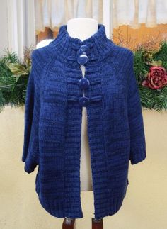 77b659a900 Allison Brittney L Poncho Shrug Sweater Blue Variegated Buttons Boho   AllisonBrittney  Poncho  Casual