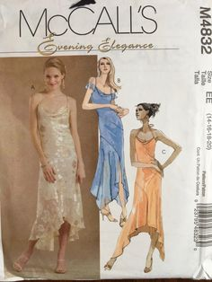 a282d97d352 McCall s M4832 Evening Elegance Draped Neckline Dress Cocktail Salsa Hi Lo  Hem Size 14 16 18