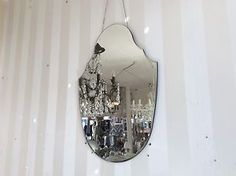 BRAND NEW VINTAGE STYLE  ART DECO SHIELD WALL MIRROR WITH  HANGING CHAIN