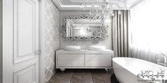 Projektowanie wnętrz klasycznej łazienki. Ciekawa wzorzyste tapety, piękna drewniana podłoga i ciekawe meble nawiązujące do stylu glamour. Więcej na www.artcoredesign.pl