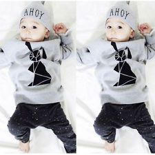 Lovely Long Sleeve Baby Boy T-shirt+Pants+Hat 3pcs Outfits Set Costume 6M-3Y