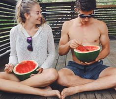 """bonnyrebecca: """" Watermelons hold a very special place in my heart… They were the very first thing Tim and I bonded over. I asked why he always brings MASSIVE watermelons into work?!?! """"To eat them"""" he would say And from that day onwards he always..."""