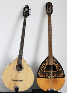 Irish flat-back bouzouki (left) and Greek round-back bouzouki (Right)... the meeting of two beautiful cultures through the magic of music!! :)