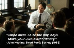 """Robin Williams in Dead Poets Society I still get teary when I hear the words """"O, Captain, my Captain. Robert Sean Leonard, Best Short Poems, Robin Williams Movies, Simple Poems, Citations Film, Most Powerful Quotes, Captain My Captain, Dead Poets Society, Inspirational Movies"""
